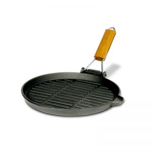 cast iron round skillet with folding handle