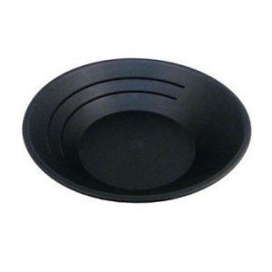 gold pan black plastic side view