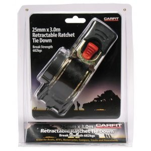 retractable ratchet 25mm x 3m tie down